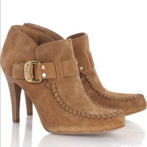 Tory Burch Suede Leather Brown Boot Heel Shoes